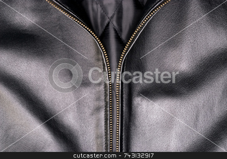 Black leather jacket stock photo, Close up of a black leather jacket and a gold zipper by Vince Clements