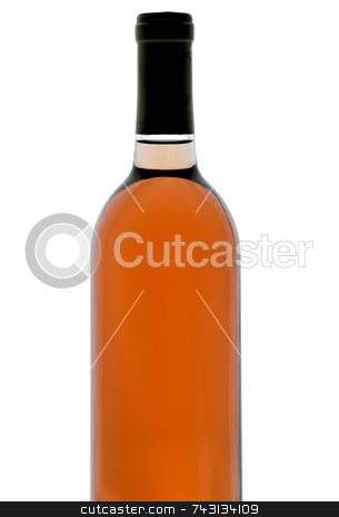 Single bottle of backlit blush wine stock photo, Single bottle of backlit blush wine isolated on white by Vince Clements