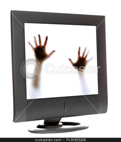 Trapped inside a computer monitor stock photo, Person trying to escape from inside a computer monitor by Vince Clements