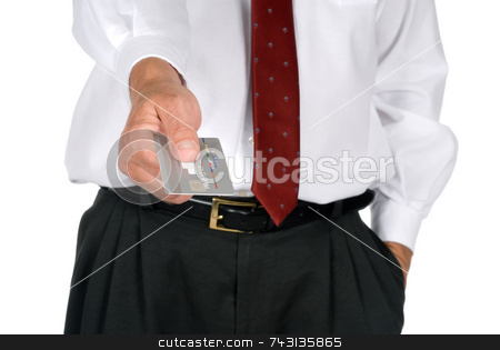 Business man with credit card stock photo, Business man handing over credit card by Vince Clements