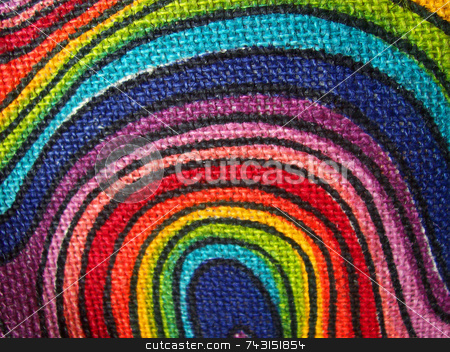 Abstract Fabric Swirls Background stock photo, An abstract close-up photograph of a brightly coloured fabric with swirls. by Philippa Willitts