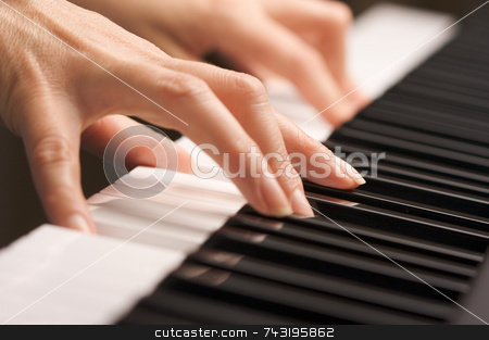 Woman's Fingers on Digital Piano Keys stock photo, Woman's Fingers on Digital Piano Keys by Andy Dean