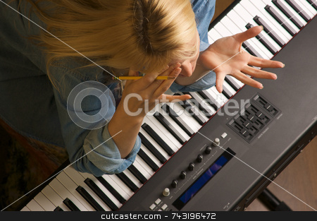 Creative Frustration stock photo, Woman Shows Signs of Creative Frustration by Andy Dean