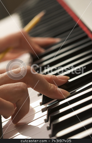 Woman's Fingers on Digital Piano Keys stock photo, Woman's Fingers with Pencil on Digital Piano Keys by Andy Dean