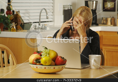 Woman on Cell Phone  stock photo, Woman in her kitchen on cell phone sitting in front of laptop. Computer problems? by Andy Dean