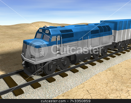 3D train on track stock photo, 3D train on track by John Teeter