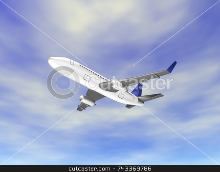 3D airplane over ocean stock photo, 3d airplane over ocean by John Teeter