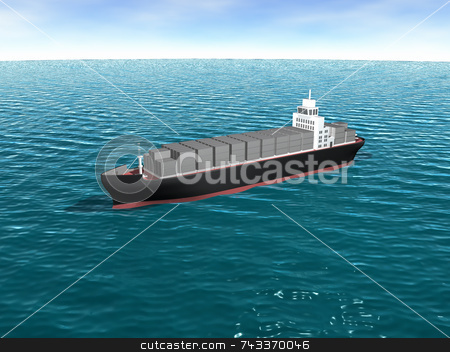3D cargo ship in ocean stock photo, 3D cargo ship in ocean by John Teeter