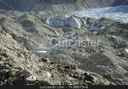 Trekkers to Everest Base Camp stock photo, Trekkers with Everest Base Camp in background by A Cotton Photo