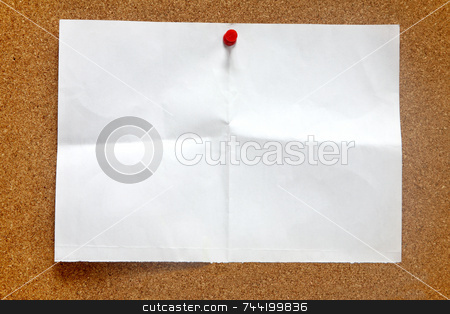 An old piece of paper on a notice board. stock photo, An old piece of paper on a notice board. by Stephen Rees