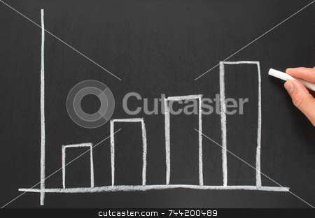 Increasing bars on a quarterly profits chart. stock photo, Increasing bars on a quarterly profits chart. by Stephen Rees