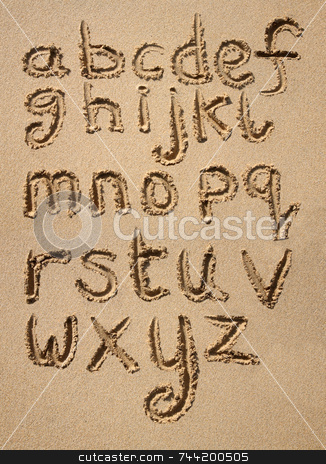 The alphabet written in sand on a beach. stock photo, The alphabet written in sand on a beach. by Stephen Rees