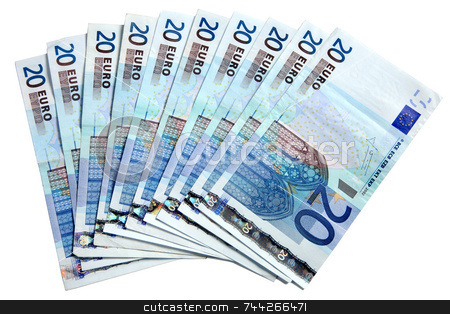 20 Euros notes fanned out on a white background. stock photo, 20 Euros notes fanned out on a white background. by Stephen Rees