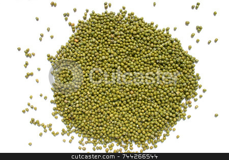 Mung beans on a white background, a good source of folic acid stock photo, Mung beans on a white background, a good source of folic acid by Stephen Rees