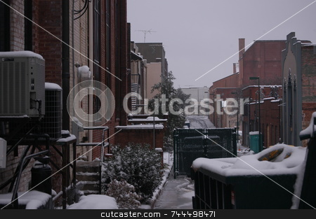 Cold alley stock photo, Behind every city is a back alley, This one is seen in the winter time. by Tim Markley