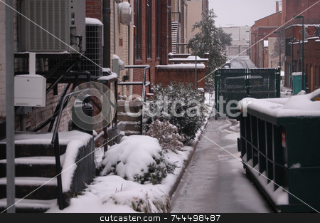 Alley in the winter stock photo, Behind every city is a back alley, This one is seen in the winter time. by Tim Markley
