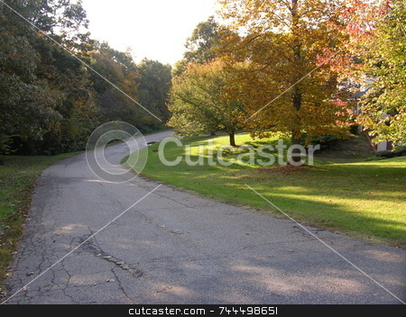 Country lane stock photo, A rural country road just as the leaves are about to change by Tim Markley