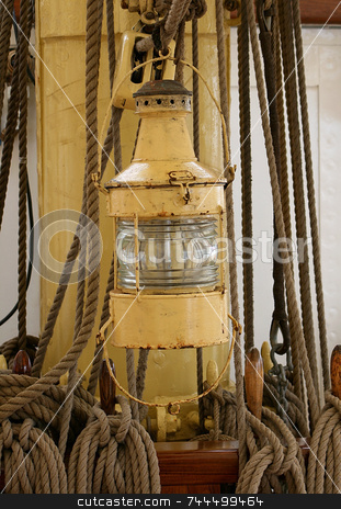 Lantern stock photo, Lantern on old ship by Kjell Westergren