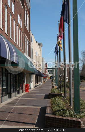 On the city square stock photo, View of downtown Hickory North Carolina in the early spring of the year by Tim Markley