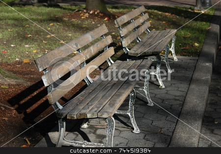 Park benches stock photo, Two park benches in an urban park by Tim Markley