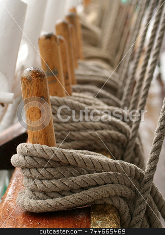 Rope stock photo, Rope on old ship by Kjell Westergren