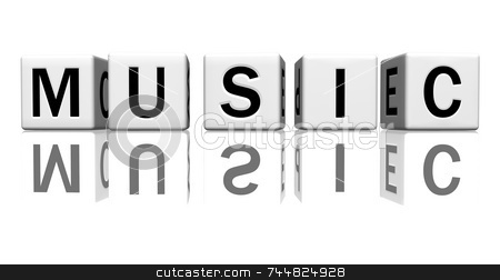 Dice white music stock photo, Dice isolated on a reflecting white ground, making the word music by Jean Larue-Frechette