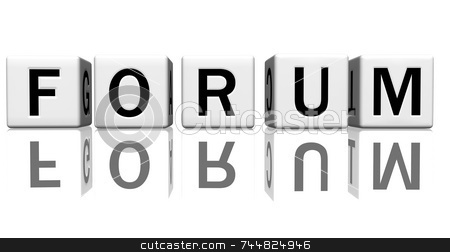Dice white forum stock photo, Dice isolated on a reflecting white ground, making the word forum by Jean Larue-Frechette
