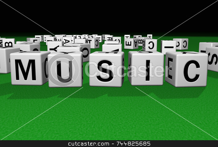 Dice Music stock photo, Dice on a green carpet making the word Music by Jean Larue-Frechette