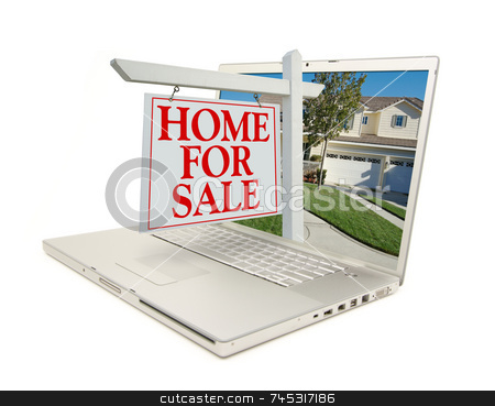 Computer with home for sale sigh stock photo, Home for Sale Sign & New Home on Laptop isolated on a white Background. by Andy Dean