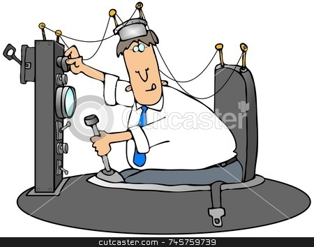 Time Machine stock photo, This illustration depicts a man sitting in a strange electronic contraption. by Dennis Cox