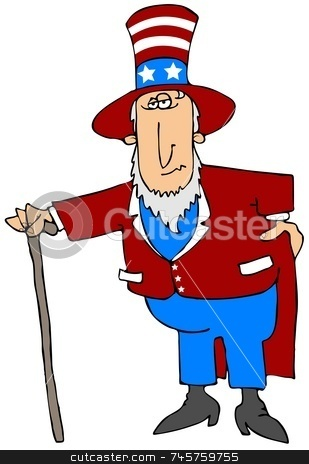 Uncle Sam stock photo, This illustration depicts an old man dressed in a patriotic American outfit. by Dennis Cox