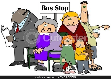 Bus Stop stock photo, This illustration depicts a group of people waiting at a bus stop. by Dennis Cox
