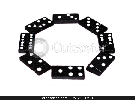 A circle of dominoes stock photo, A circle of dominoes tiles on a white background by Philippa Willitts