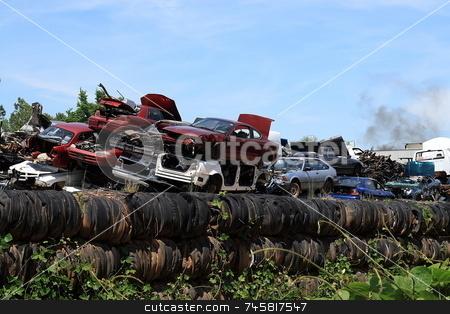 Junkyard stock photo, Automotive junkyard recycling center by Jack Schiffer