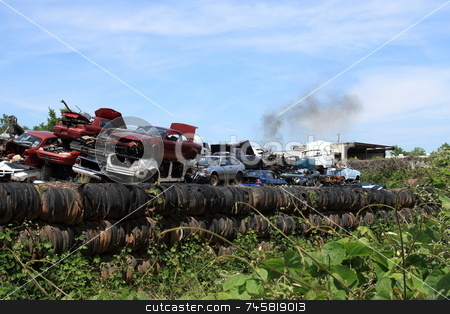 Junkyard stock photo, Automotive junkyard recycling center by Jack Schiffer