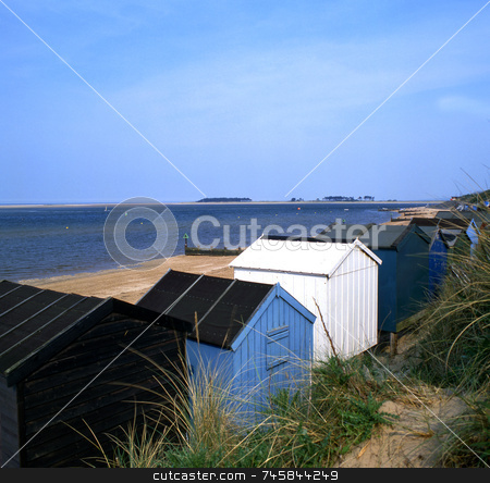 Beach Huts stock photo, Several beach huts by the sea by Paul Phillips