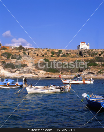 The Bay stock photo, Fishing boats in a bay in southern Cyprus by Paul Phillips