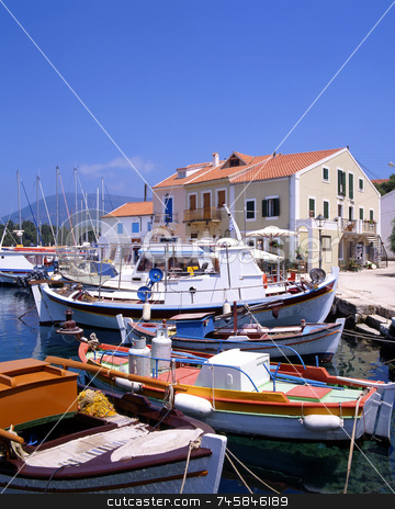 Fiskardo Harbour stock photo, The harbour at Fiskardo on the greek island of Kefalonia by Paul Phillips