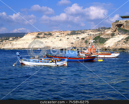 Gone Fishing stock photo, A group of fishing boats in a bay off the Cyprus coast by Paul Phillips