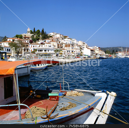 Skiathos Port stock photo, Skiathos port Greece with fishing boat in foreground by Paul Phillips