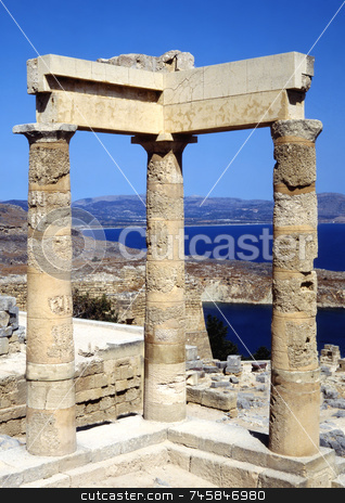 Acropolis stock photo, The Acropolis in Lindos greece looking out over the bay by Paul Phillips