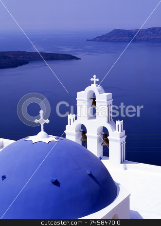 The bay stock photo, Greek church overlooking the bay of Santorini, GreeceI by Paul Phillips