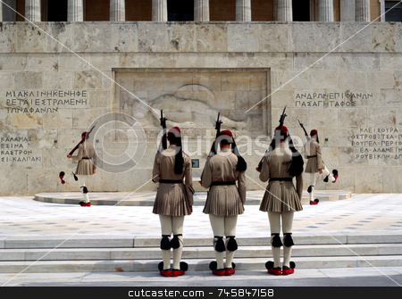 Changing the guard stock photo, Greek Evzones changing the guard at the Tomb of the Unknown Soldier by Paul Phillips