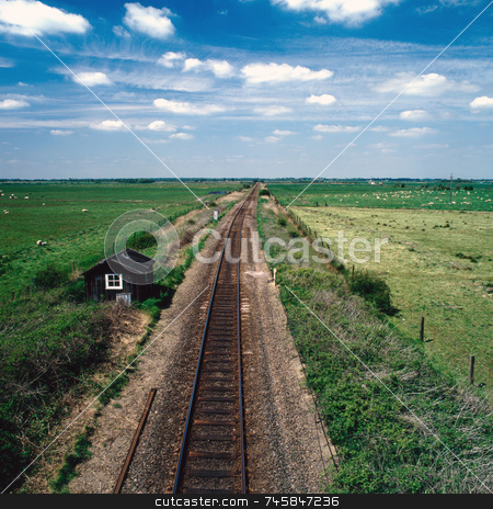 Far and wide stock photo, Railway tracks in East Anglia UK by Paul Phillips