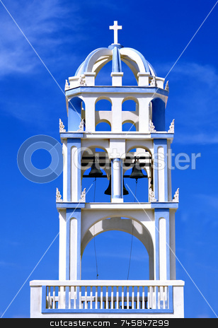Blue Bells stock photo, Greek church bell tower with a blue sky background by Paul Phillips