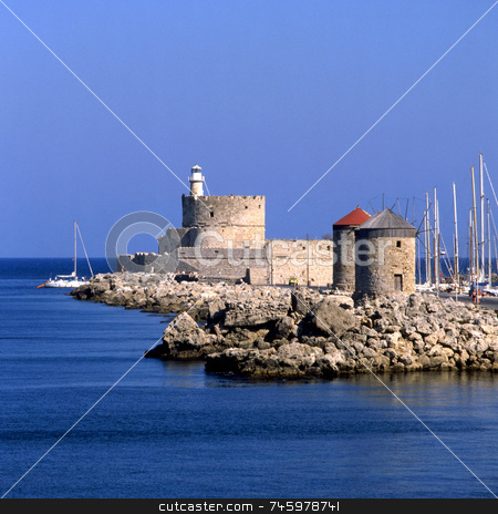 Rhodes Windmills stock photo, The harbour of Rhodes Greece old town by Paul Phillips