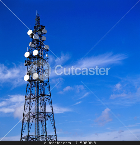 Communication stock photo, Telecommunication mast with blue sky background by Paul Phillips