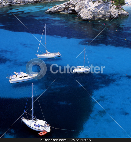 Paleokastritsa Corfu stock photo, Four sail boats in the waters of Paleokastritsa, Corfu, Greece by Paul Phillips