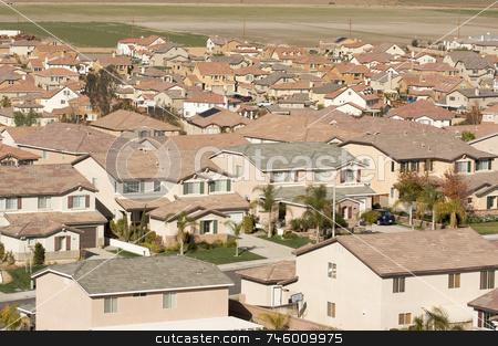 Contemporary Suburban Neighborhood stock photo, Elevated View of New Contemporary Suburban Neighborhood. by Andy Dean