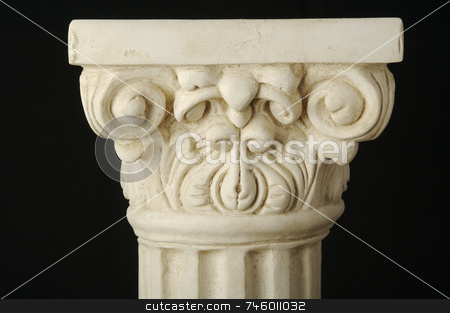 Ancient Column Pillar Replica stock photo, Ancient Column Pillar Replica on a Black Background. by Andy Dean
